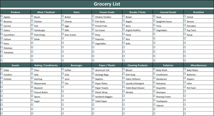 Grocery List Template | Download Free & Premium Templates, Forms