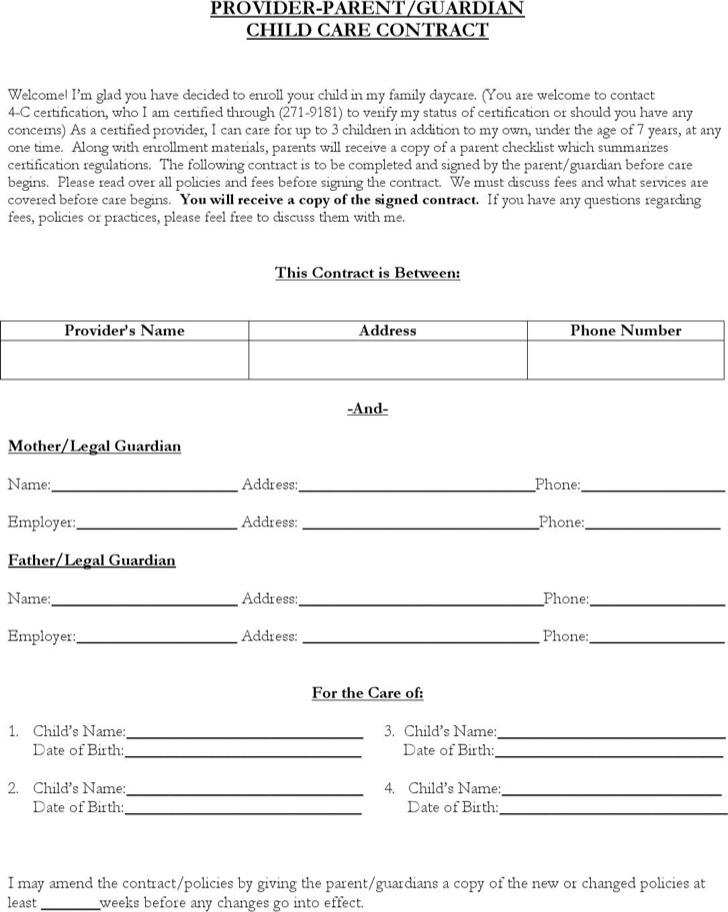 Child Care Contract Template | Download Free & Premium Templates ...