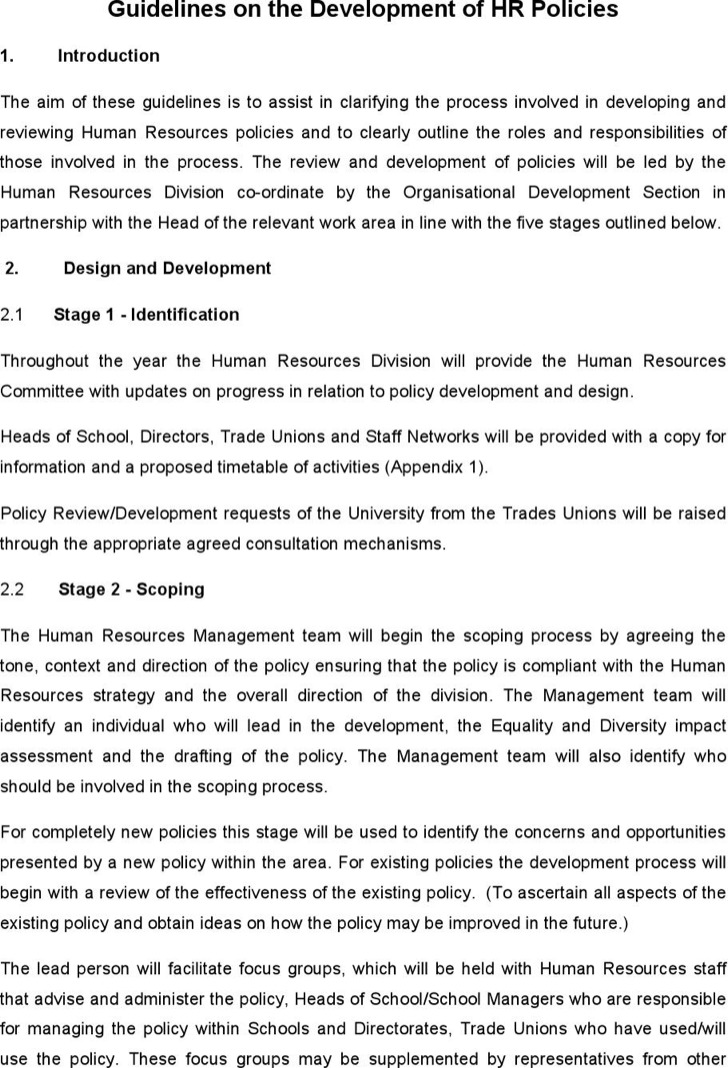 Guidelines On The Development Of Hr Policies