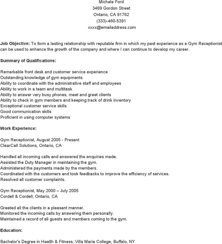 Microsoft word resume template download free premium for Cover letter for a gym receptionist