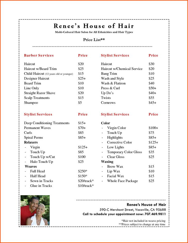 services price list template