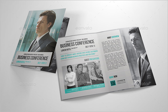 Half-Fold Business Conference Brochure Template