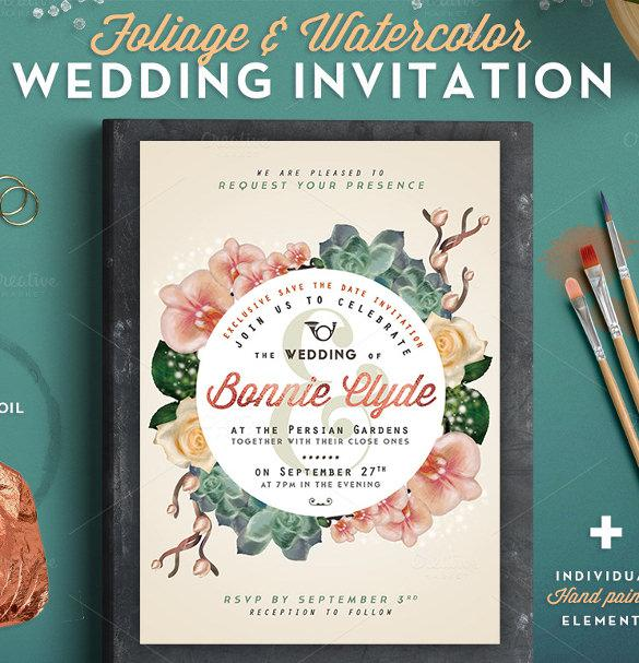 Hand Painted Wedding Invitation Template For Download