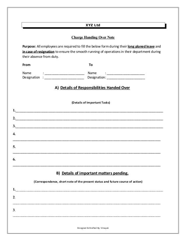 Handover Notes Prepared by the Reporting Officer