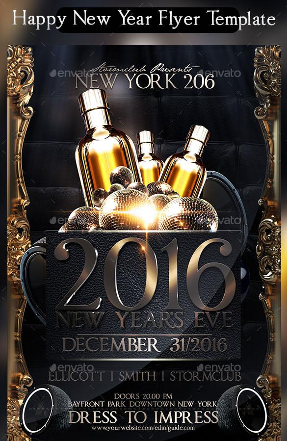 Happy New Year Flyer Template PSD Format