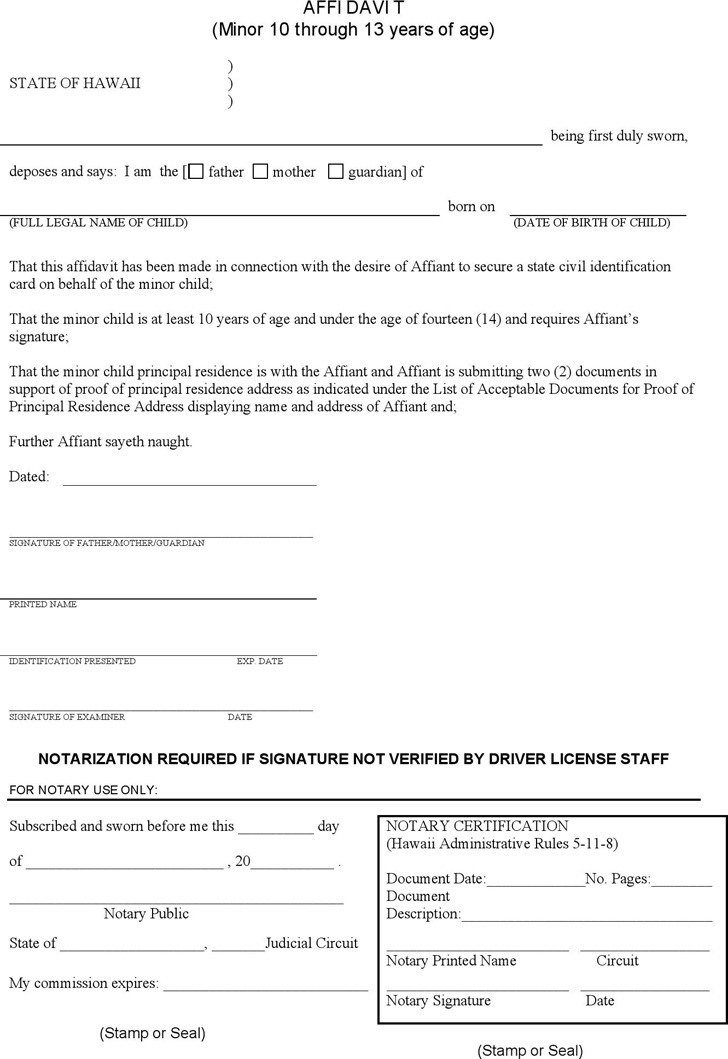 Hawaii Affidavit for Parental Consent Form