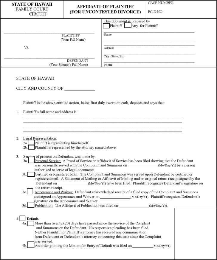 Hawaii Affidavit of Plaintiff for Uncontested Divorce Form