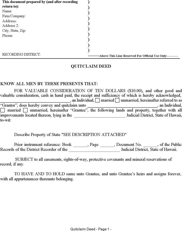 Hawaii Quitclaim Deed Form
