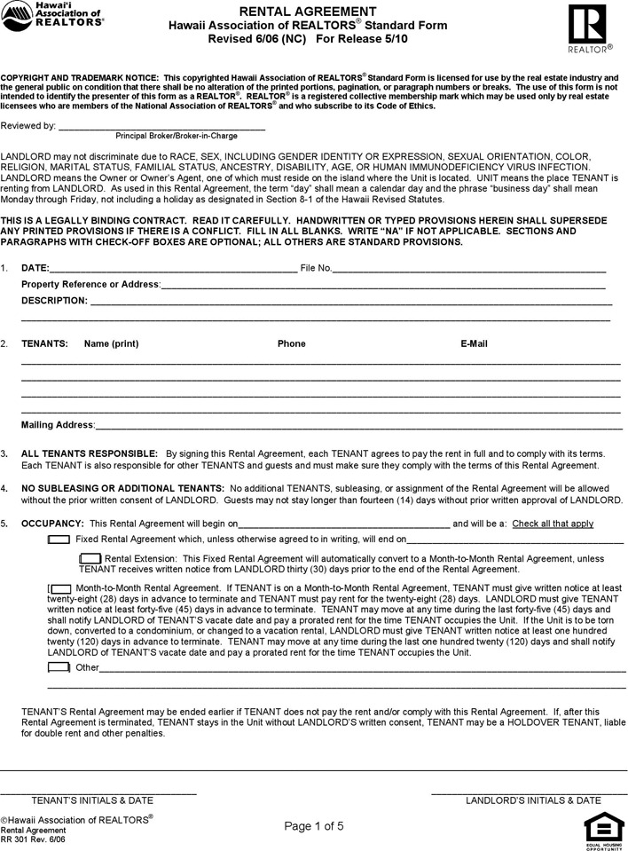 Hawaii Residential Lease Agreement Form