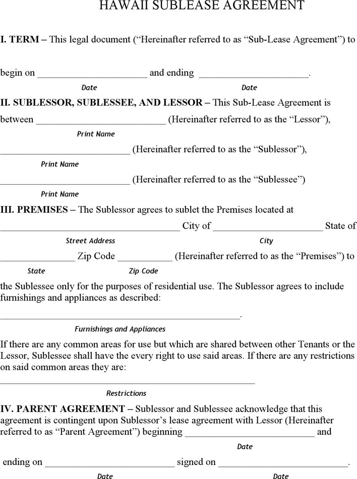 Hawaii Sublease Agreement Form