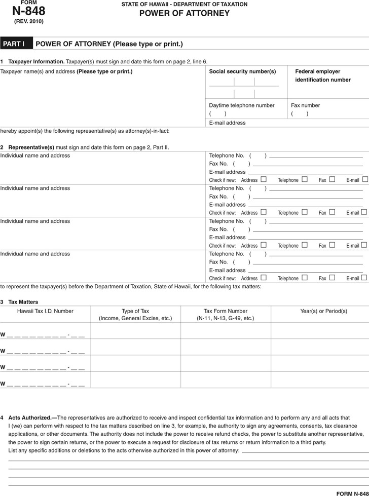 Hawaii Tax Power of Attorney Form