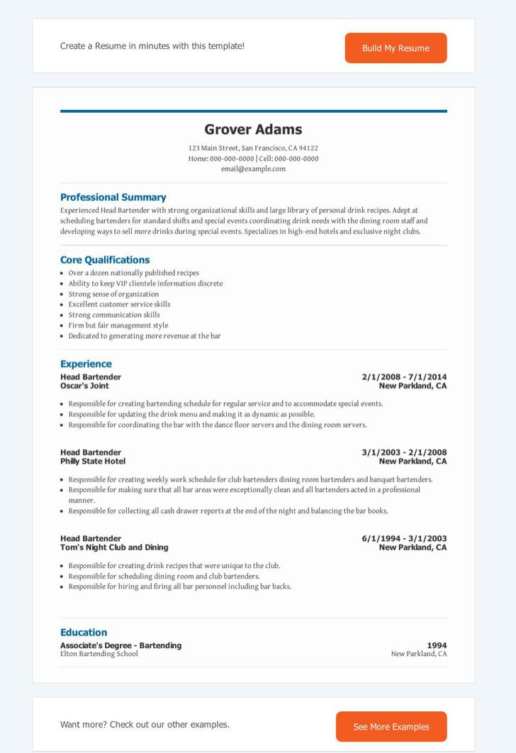Head Bartender Resume1