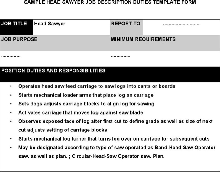 Head Sawyer Job Description