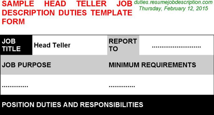 Head Teller Job Description