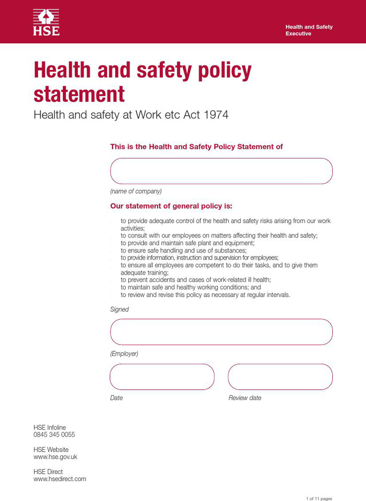Health And Safety Policy | Download Free & Premium Templates