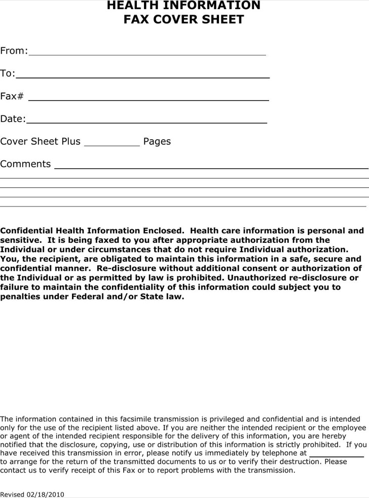 Health Information Fax Cover Sheet Template Example