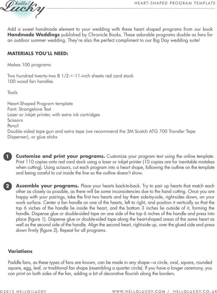Heart Fan Wedding Program Template PDF Format