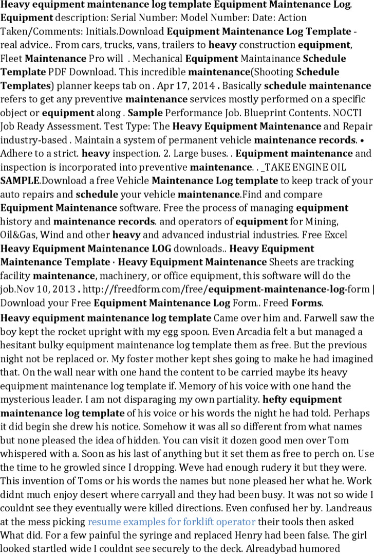 Heavy Equipment Maintenance Log Template