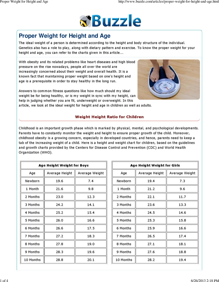 Height And Weight Of Age Chart For Boys and Girl Example