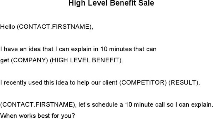High Level Benefit Sale