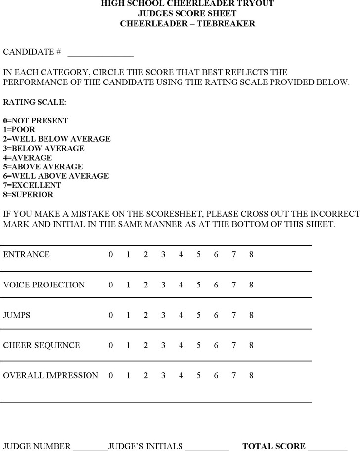 Cheerleading Tryout Score Sheet | Download Free & Premium