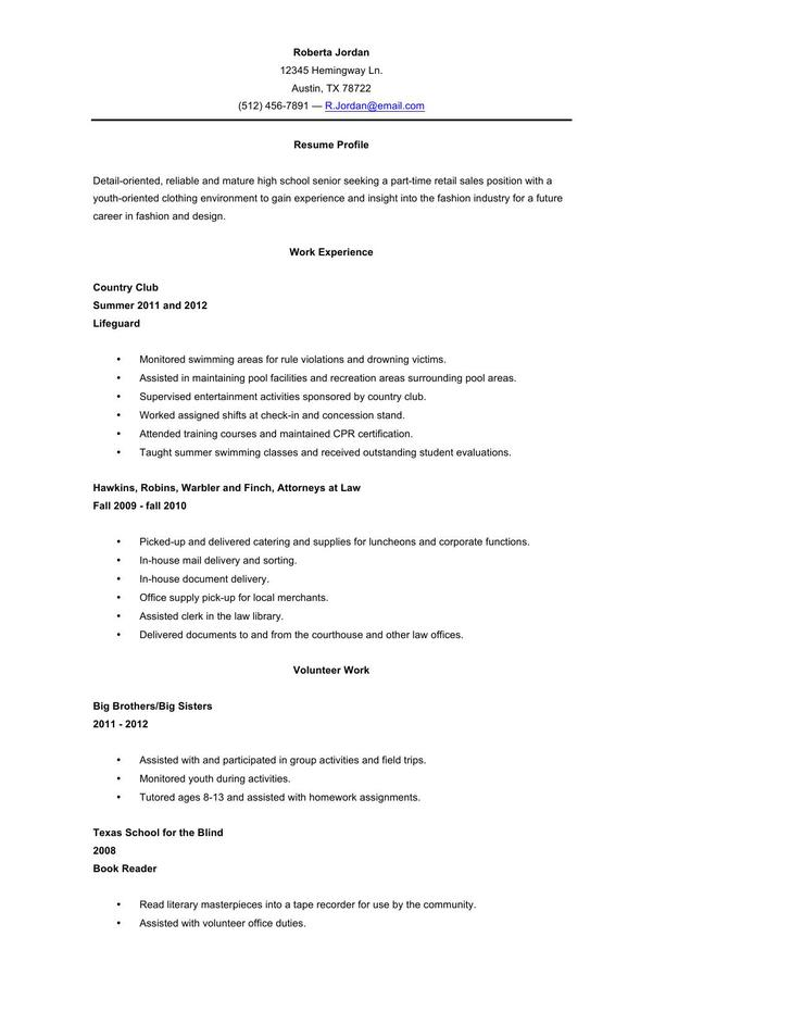 High School Resume Template Word  Resume Format Download Pdf