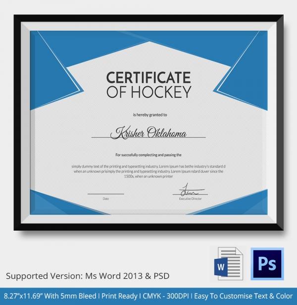 Hockey Tournament Certificate