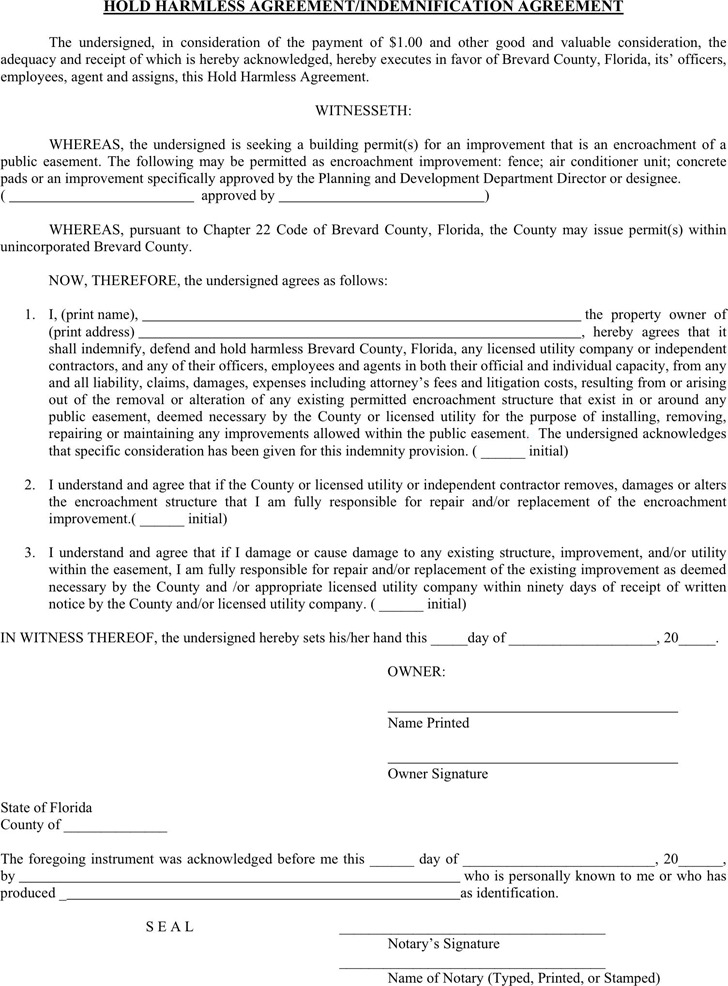 Hold Harmless Agreement  Download Free  Premium Templates Forms