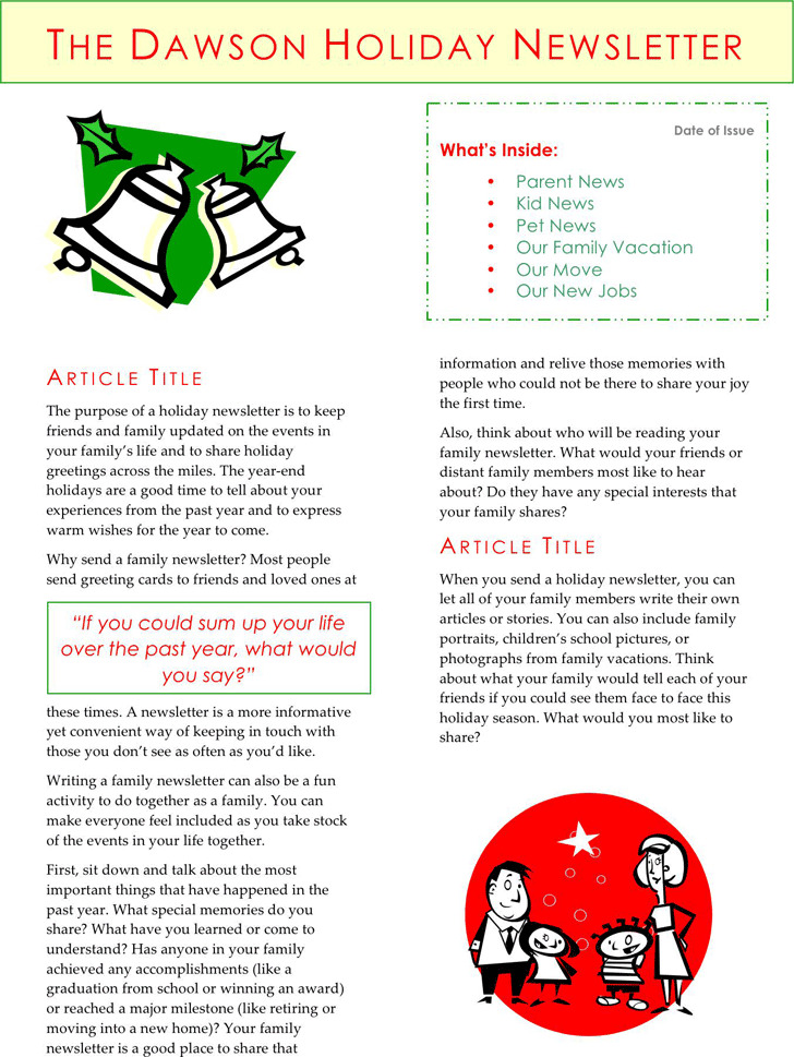 Holiday Newsletter Template | Download Free & Premium Templates