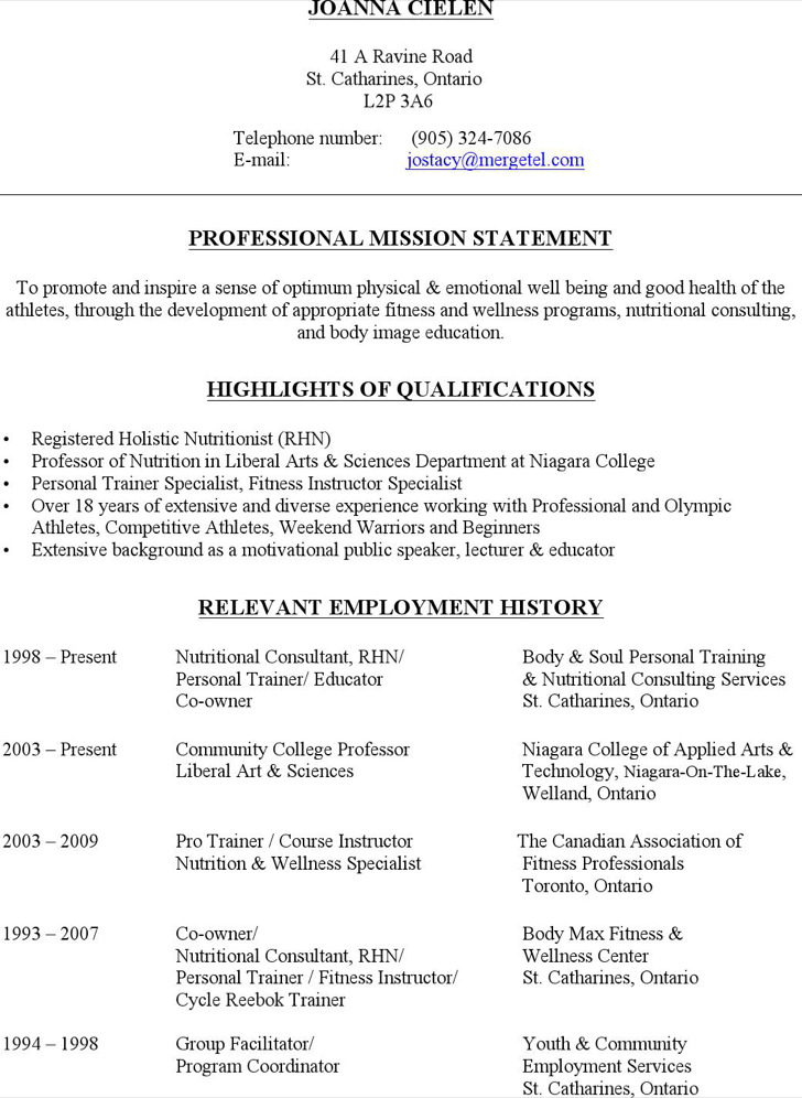 Holistic Nutritionist Resume