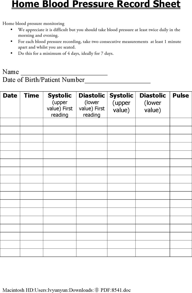 Home Blood Pressure Record Sheet