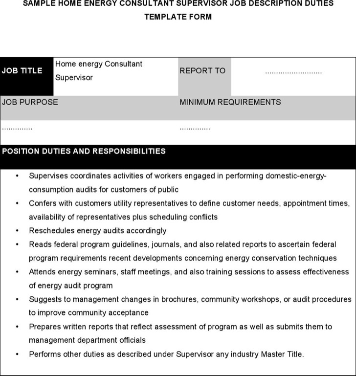 Home Energy Consultant Supervisor Job Description