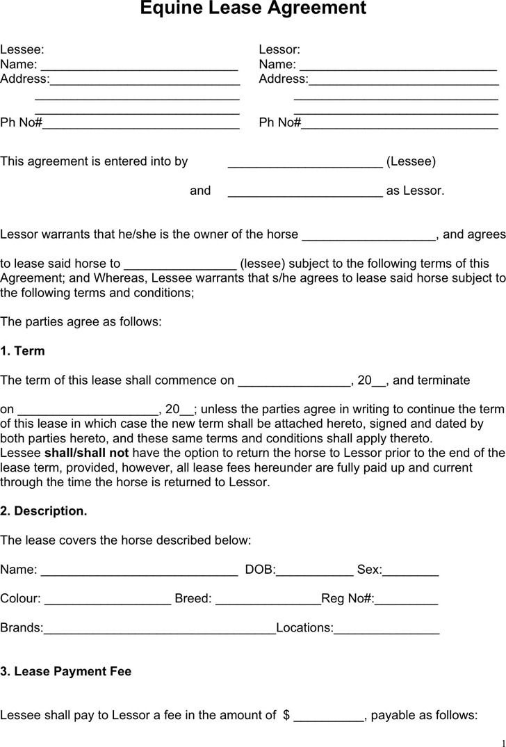 Horse Lease Agreement – Sample Horse Lease Agreement Template