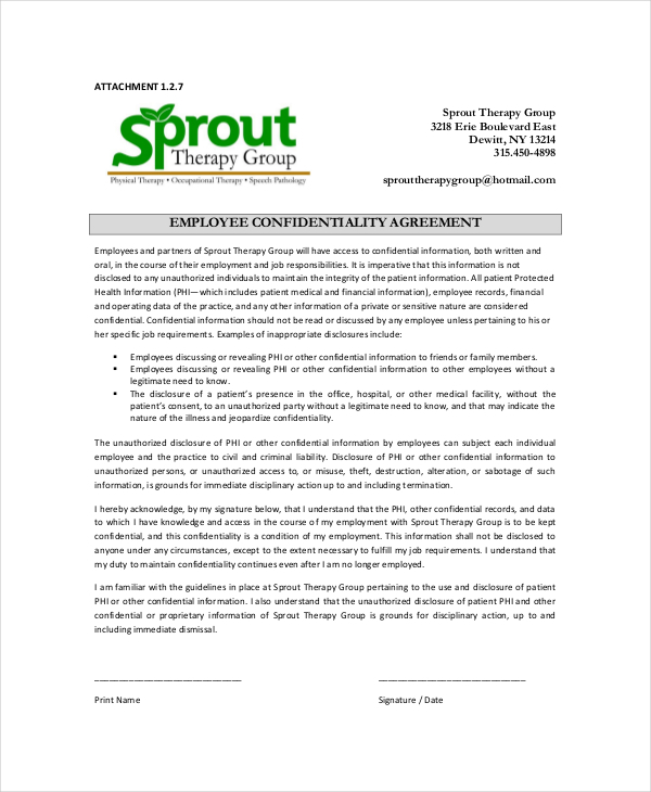 Employee Confidentiality Agreement  Download Free  Premium