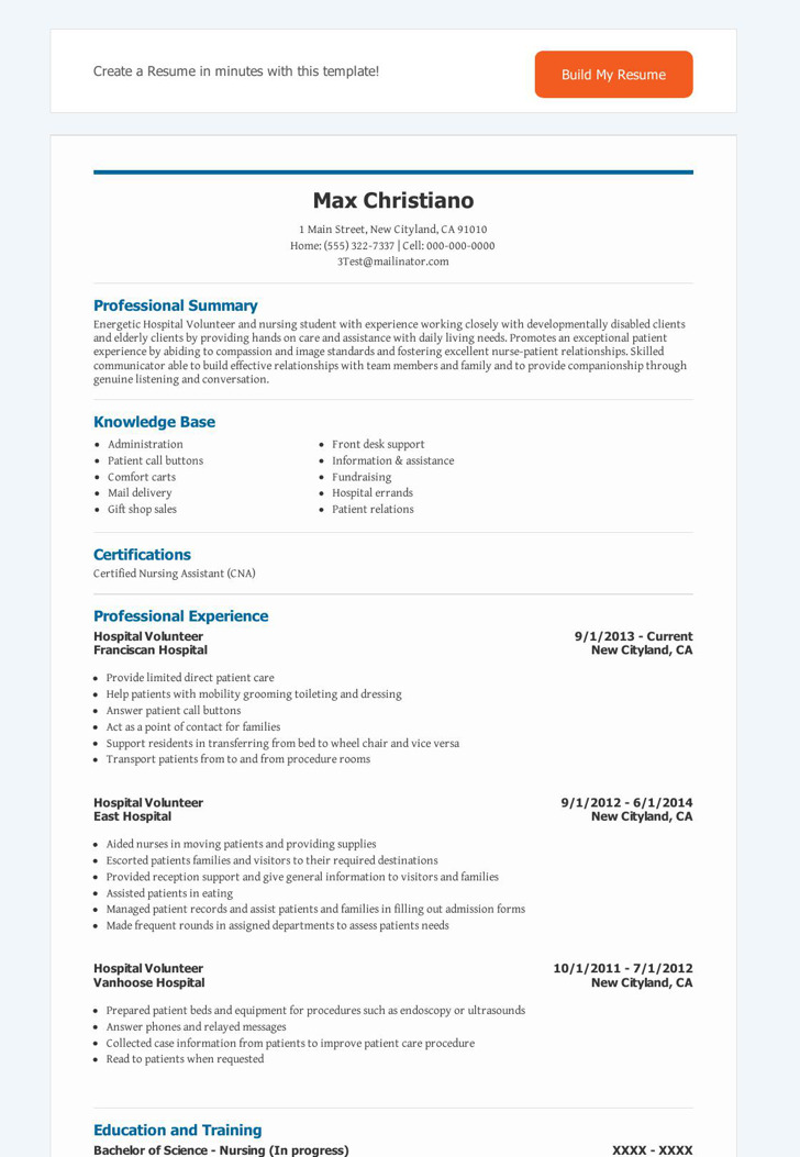 Volunteer Resume Templates – Volunteer Resume