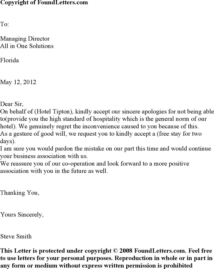 Hotel Apology Letter  Download Free  Premium Templates Forms