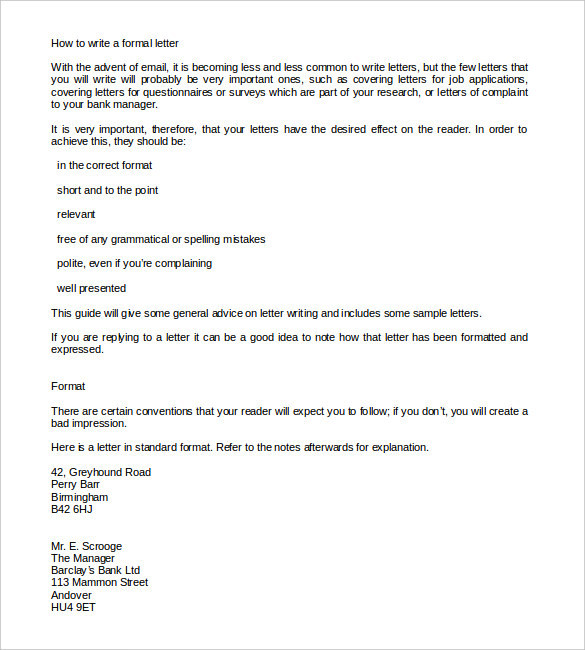 Formal Letter Templates  Download Free  Premium Templates Forms
