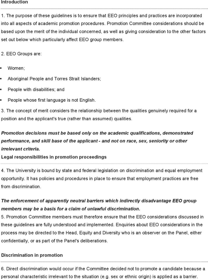 Hr Eeo Guidelines Academic Promotions