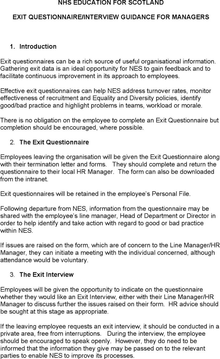 Hr Exit Guidance For Managers