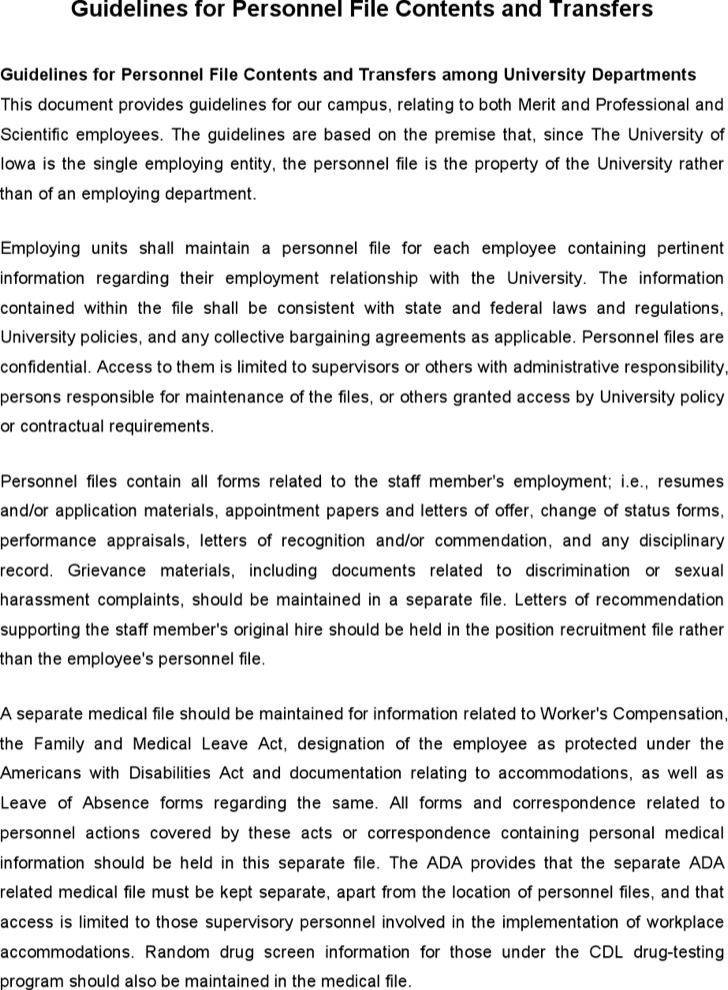 Hr Guidelines For Personnel File Contents And Transfers