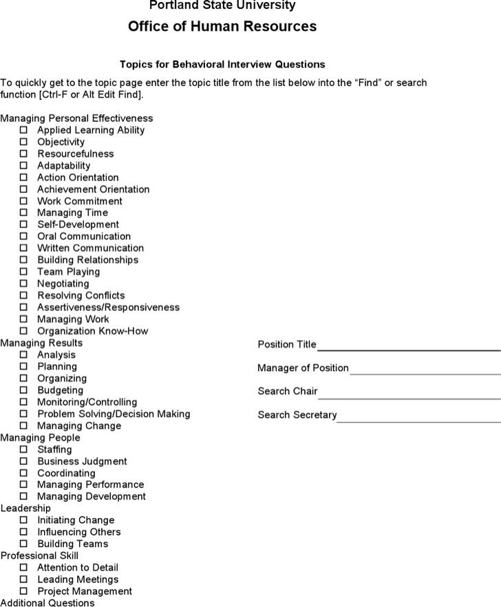 Hr Staff Behavioral Interviewquestions