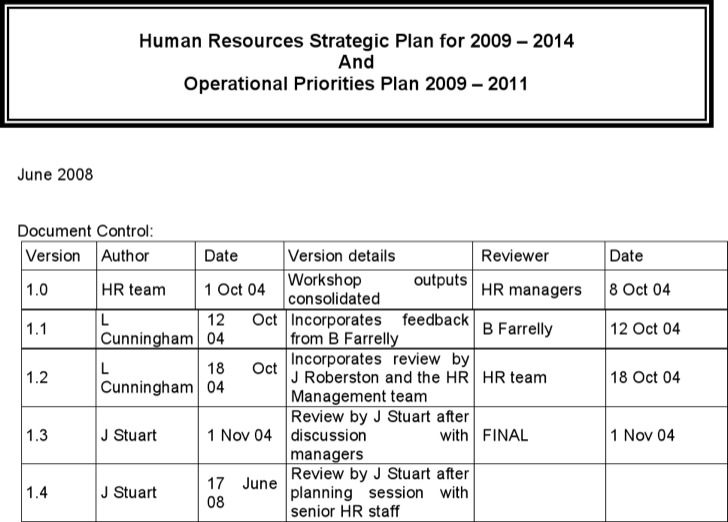 Hr Strategic Plan Template Example1