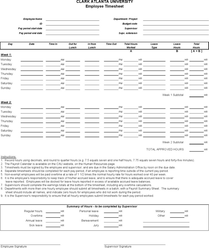 Sample Hourly Timesheet Calculator Weekly Employee Timesheet