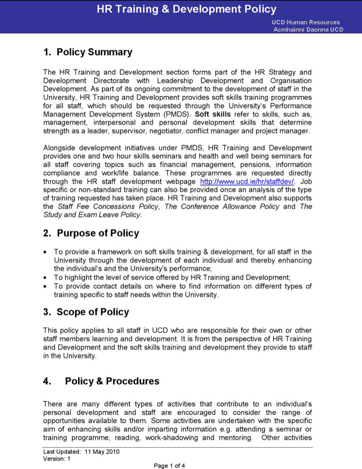 Hr Training And Development Policy Template