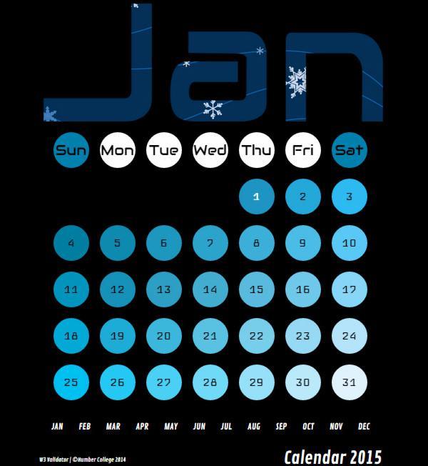 HTML Calendar 2015 Year