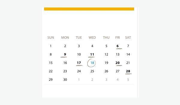 HTML Events Calendar