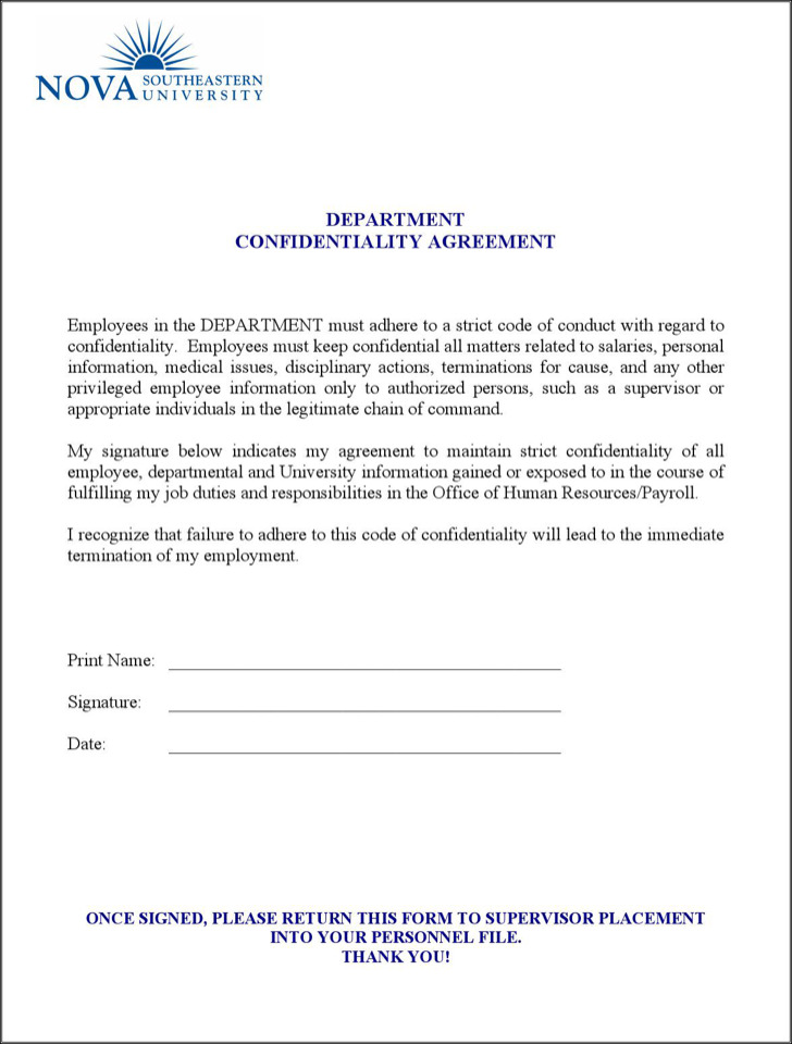 Personal Confidentiality Agreements Non Disclosure Agreement