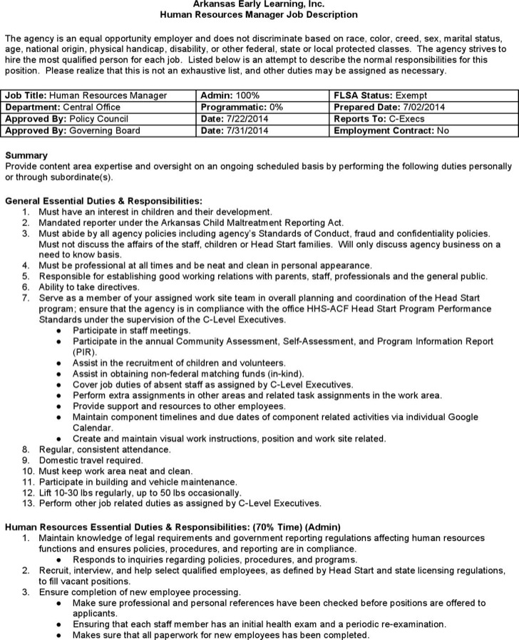 Human Resources Job Description Template