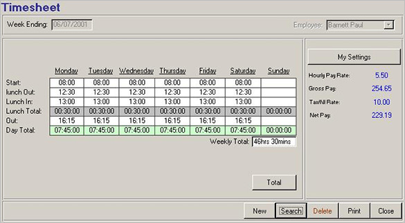 Human Resources Timesheet in MS Access 2007