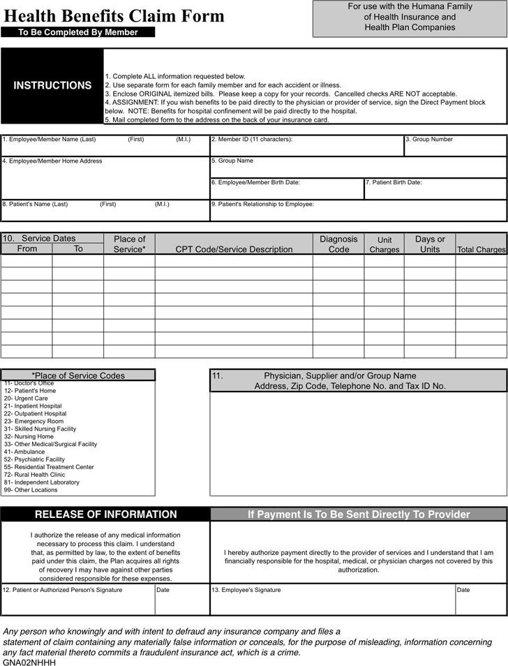 Humana Medical Claim Form